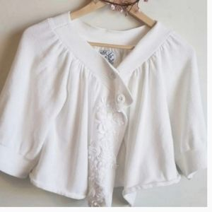 Anthropologie Tabitha white crop sweater